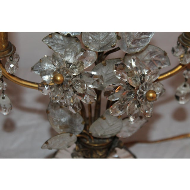 1930s Maison Bagues French Art Deco Cut Crystal Flowers Table Lamps - a Pair For Sale - Image 10 of 13