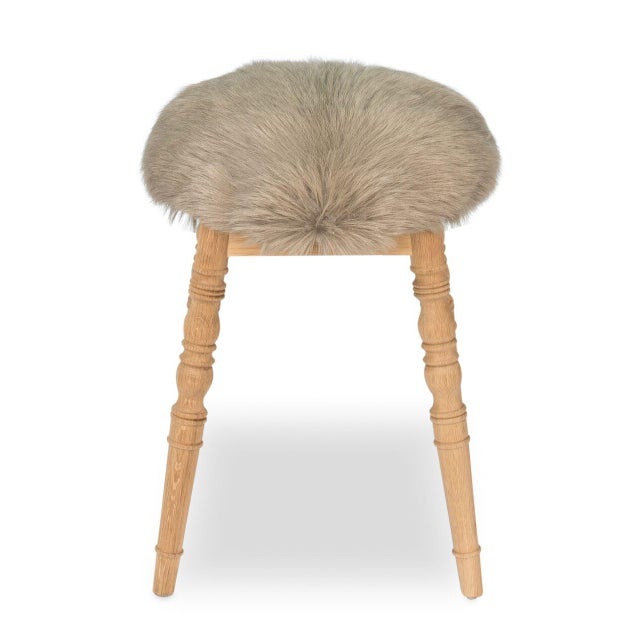 Hollywood Regency Sarreid Ltd 'Winoma' Beige Stool For Sale - Image 3 of 6