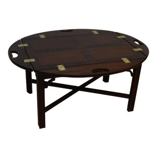 Councill Mahogany Oval Butler Banded Coffee Cocktail Table For Sale