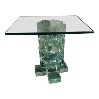 Mid-Century Glass Block Table
