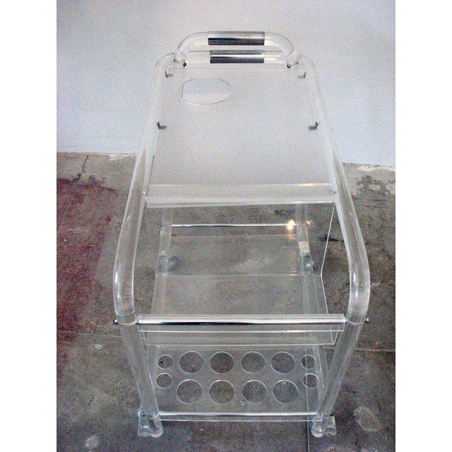 Mid-Century Modern Mid-Century Lucite Bar Cart with Chrome Accents For Sale - Image 3 of 6