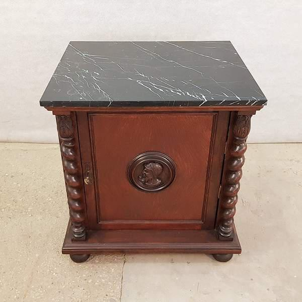 Early 20th Century French Louis XIII Style Early 20th C. Confiturier Cabinet Cupboard With Single Door and Marble Top For Sale - Image 5 of 13