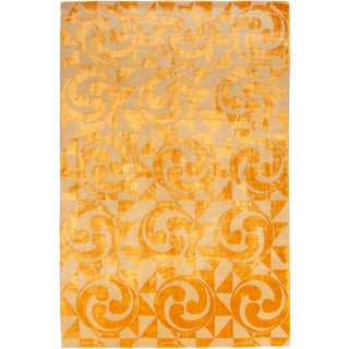 "Contemporary Hand Knotted Golden ""Kaleidoscope"" Rug For Sale"