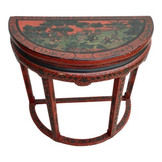 Red Cinnabar Lacquered Chinese Demi-Lune Table For Sale