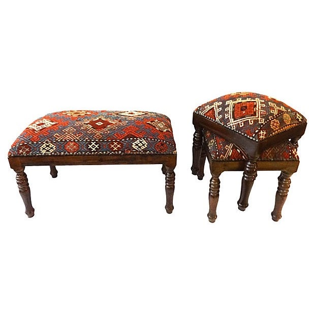 Antique Caucasian Upholstered Stools - 3 - Image 7 of 8