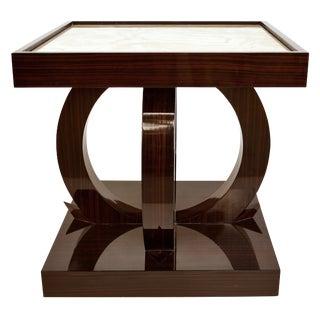 Art Deco Macassar Ebony Side Table W/ Onyx Top For Sale