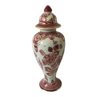 Vintage Delft Rood Porcelain Ginger Jar For Sale