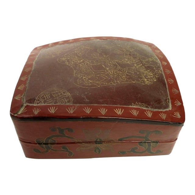 Large Chinese Red Lacquered Porcelain Lidded Box - Image 1 of 11