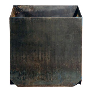 "Contemporary Large ""Cubiste"" Patinated Steel Plate Planter For Sale"