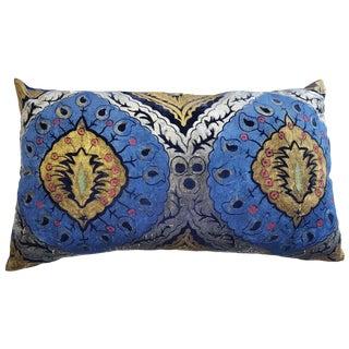 Peacock Silk Velvet Pillow For Sale