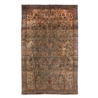 Antique Kashan Green and Pink Silk Persian Rug For Sale