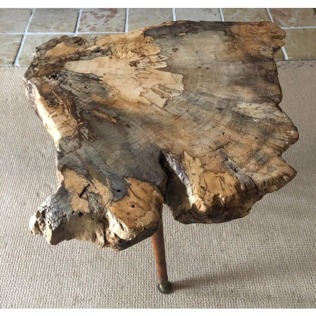 2010s Live Edge Coffee Table Burl Wood Mid Century Style For Sale - Image 5 of 11