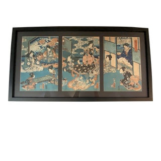 Vintage Japanese Block Print Triptych For Sale