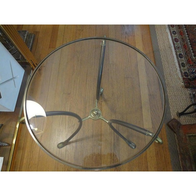 Brass French Maison Baguès Style Brass Table or Guéridon With Glass Top For Sale - Image 8 of 11