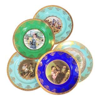 Antique Josef Kuba Jkw Bavaria Porcelain Plates - Set of 5 For Sale