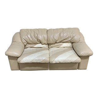 Post Modern Italian Leather Love Seat For Sale