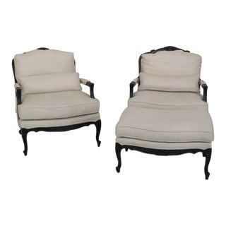 Pair of Henredon French Louis XV Bergere Chairs & Ottoman For Sale