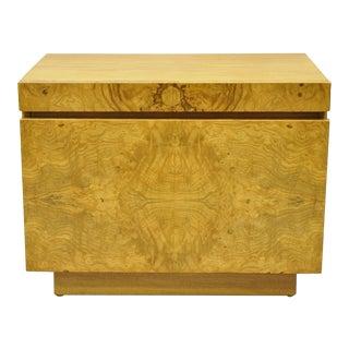 Mid Century Modern Lane Burl Wood Milo Baughman Style Nightstand Bedside Table For Sale
