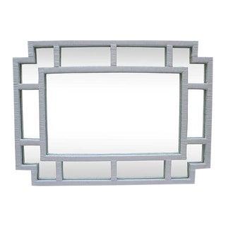 Contemporary White Rattan Mirror For Sale