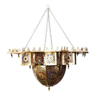 Moroccan Brass Chandelier With Multicolor Glass For Sale