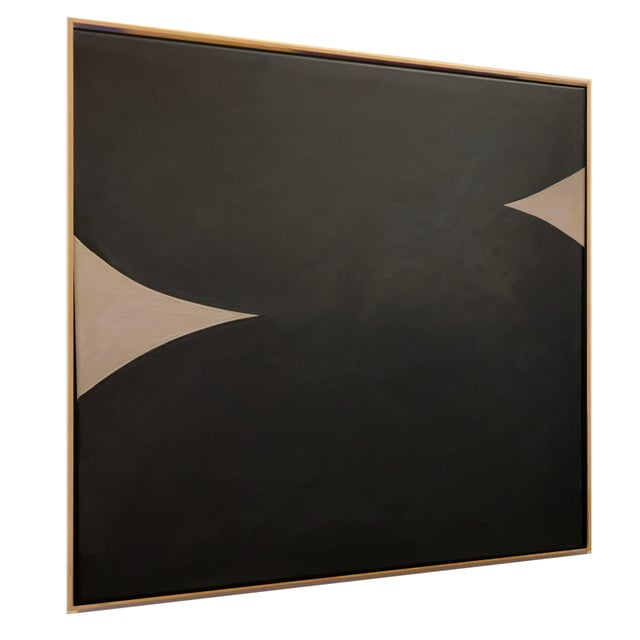 "Abstract Monochromatic Painting Media: Acrylic Gouache on Canvas Dimensions (Framed): 37.5"" x 37.5"" x 1.7"" The work has..."