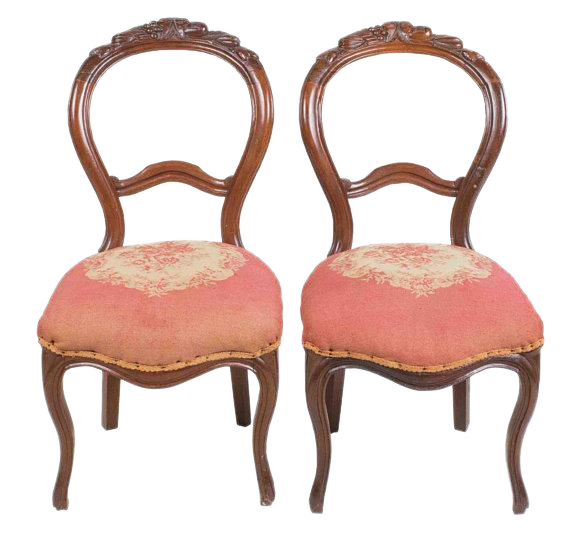 Antique Victorian French Carved Needlepoint Balloon Back Chairs   A Pair