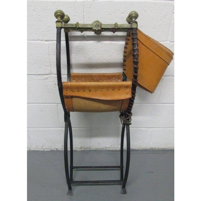 Gold Italian Curule Savonarola Chair For Sale - Image 8 of 9