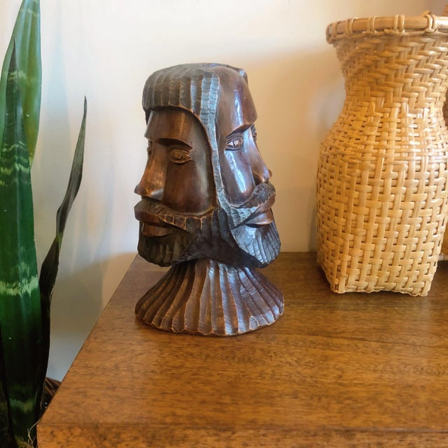 Vintage Carved Wooden Head Sculpture For Sale - Image 4 of 9
