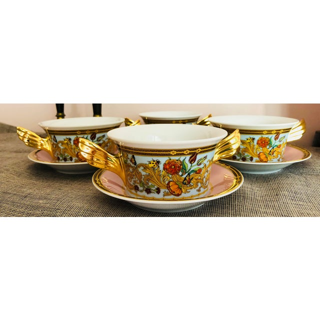 Ceramic Italian Rosenthal Versace Butterfly Garden Soup Cups and Saucers - 8 Pieces For Sale - Image 7 of 7