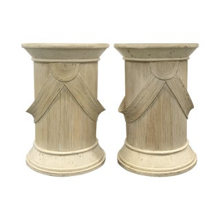 1980s Split Reed and Plaster Pedestal Tables — a Pair For Sale