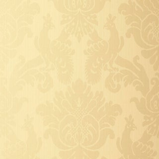 Sample - Schumacher Valette Strie Damask Wallpaper in Champagne For Sale