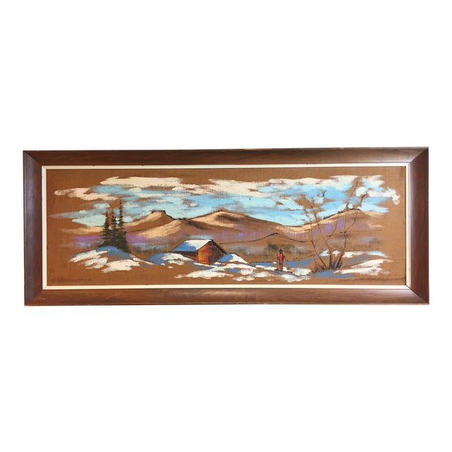 Mid Century Modern Burlap Painting by Levente Kovacs For Sale