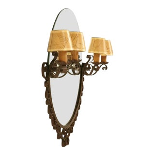 French Art Deco Sconce Mirror For Sale