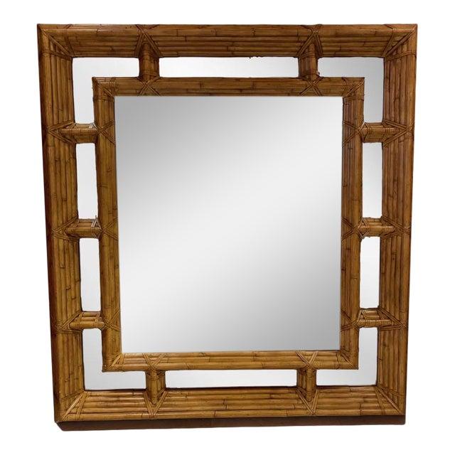 Vintage Kreiss Rattan Mirror For Sale