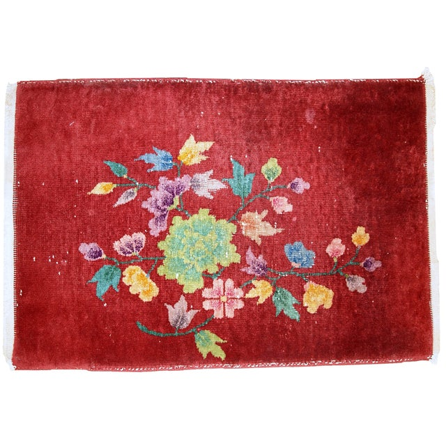 1920s Hand Made Antique Art Deco Chinese Rug - 2′ × 2′10″ For Sale - Image 10 of 10