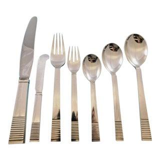 Parallel by Georg Jensen Sterling Silver Flatware Set 12 Service 88 Pcs Dinner For Sale