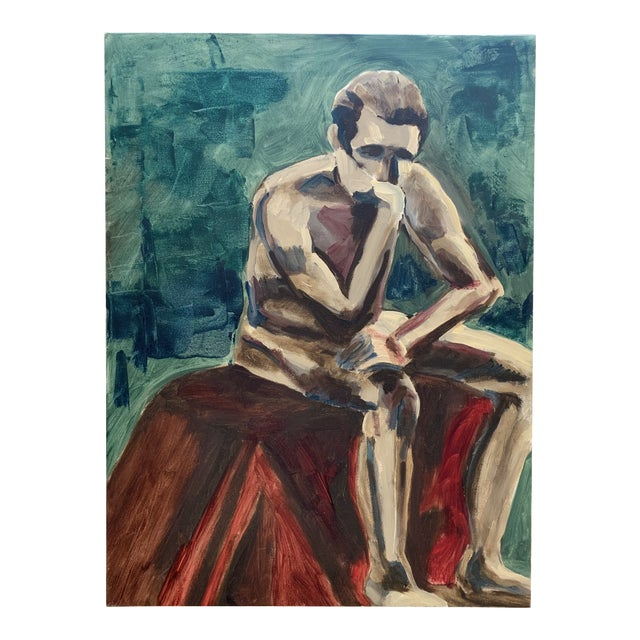 Vintage Seated Male Nude Oil Painting on Canvas For Sale