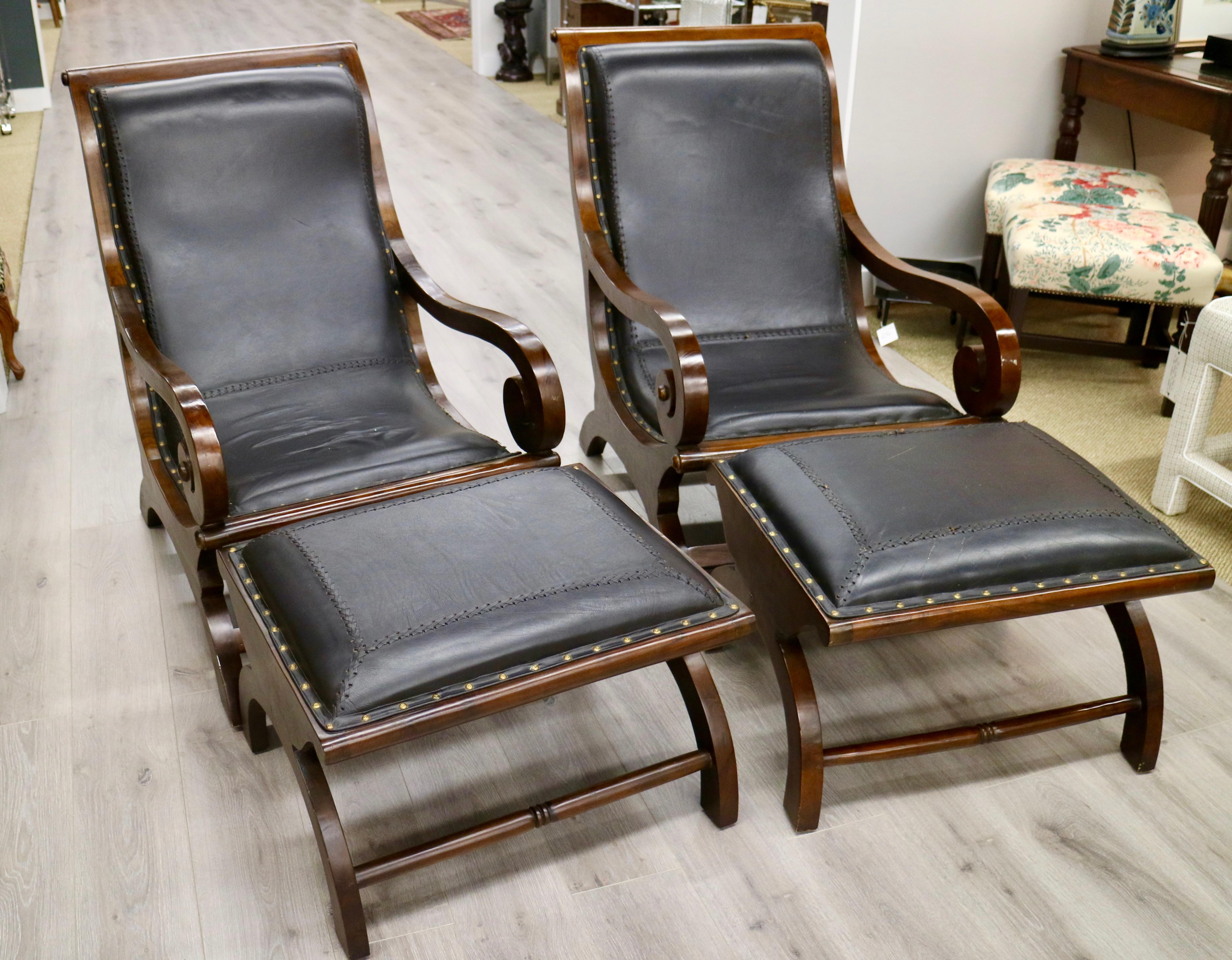 Pair Of Leather Stitched Plantation Chairs   Image 7 Of 7