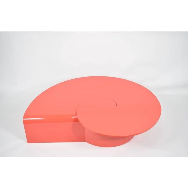 Wood Fabulous Statement Coffee Table in Red/Orange Lacquer For Sale - Image 7 of 9