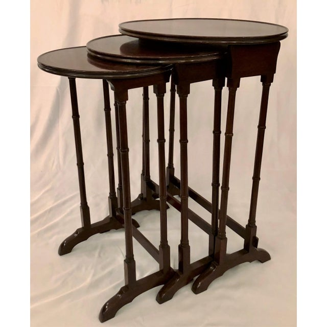 Antique English Mahogany Nest of Tables With Delicate Inlay. For Sale - Image 4 of 8
