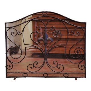 Mid-20th Century French Gothic Wrought Iron Fireplace Screen With Fleur-De-Lis For Sale