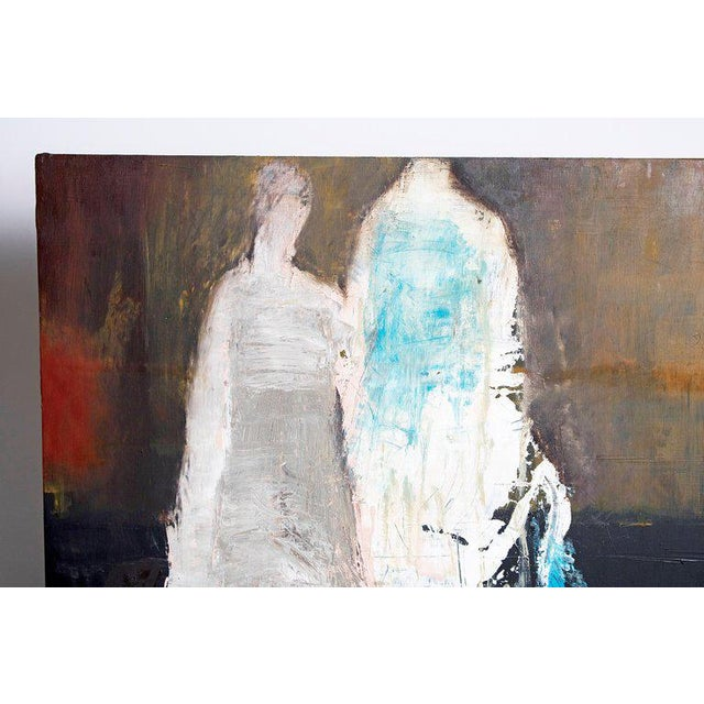 "Paint Abstract & Figurative Oil on Board by Brigitte McReynolds, ""Couple in the Blue"" For Sale - Image 7 of 13"