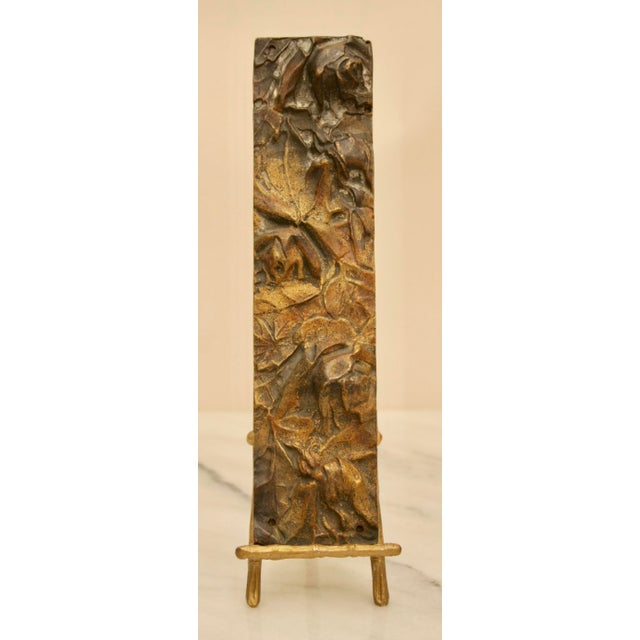 Bronze Abstract on Brass Faux Bamboo Easel - Image 7 of 8