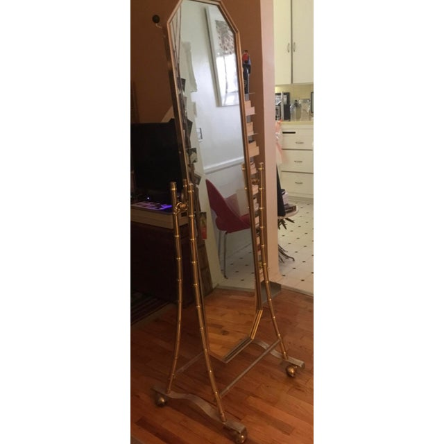 1970s French Regency Style Faux Brass Bamboo Floor Length Mirror For Sale - Image 5 of 7