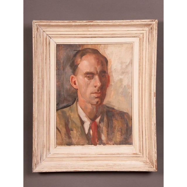 Contemporary 1960s Portrait of Gentleman's Bust English Oil on Canvas Painting by Victor Hume Moody For Sale - Image 3 of 8