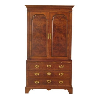 1990s Vintage Henredon Aston Court Collection Walnut Armoire For Sale