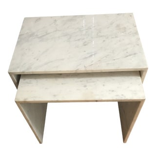 Modern Wisteria White Marble Nesting Tables - Set of 2 For Sale