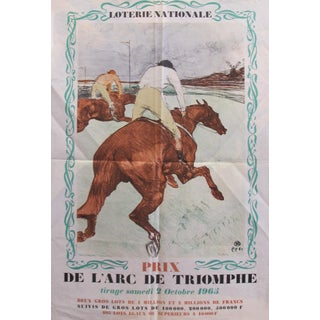 "1965 French Vintage Original Poster, Loterie Nationale Advertisement ""Prix De l'Arc De Triomphe 2 Octobre 1965"" - Henri De Toulouse Lautrec For Sale"