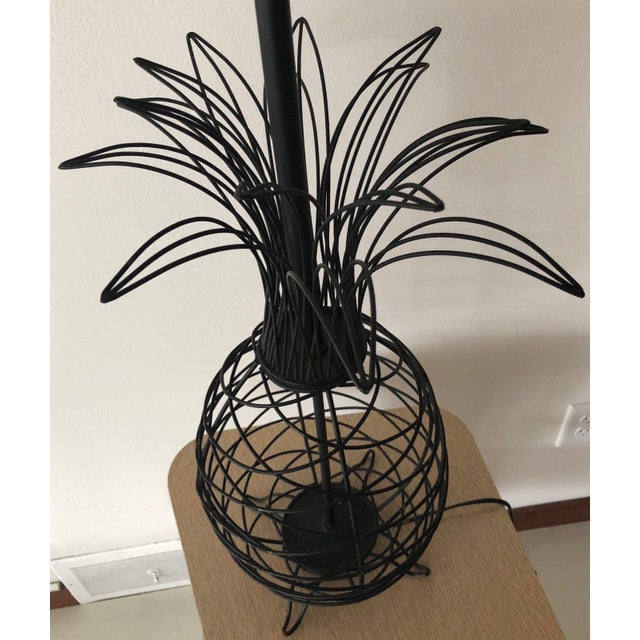 1950s 1950s Vintage Ferris Shacknove Black Wire Pineapple Lamp For Sale - Image 5 of 9