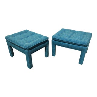 1970s Vintage Tweed Parsons Ottomans- A Pair For Sale